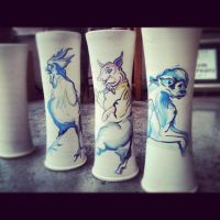 chicken, pig and monkey vases by saraharthope