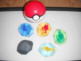 Pokemon Evolution Stones - Generation I (view 2) by ChinookCrafts