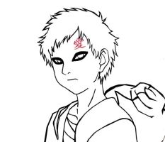 Gaara Lineart by Rowereq