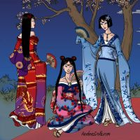Sailors Moon, Mercury and Mars as Geisha by Arimus79