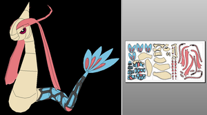 Milotic Papercraft + Unfold Info by Sabi996