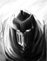 League of Legends - Zed Grayscale Portrait by Seth-Cypher