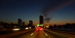 Driving while it's sunset by go4music