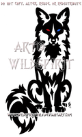 Bi-Eyed Sitting Tribal Fox by WildSpiritWolf