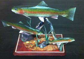 papercraft model of 3 trout by zandere123