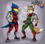 Fox and Falco + Super Smash Bros by RatchetJak