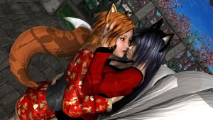 Kissing Foxes by SatsukiHime1031