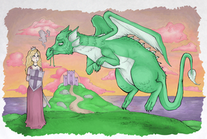 Princess Facing the Dragon by sstardustqueen