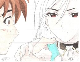 Inner Moka x Tsukune Colored Sketch by twilightgod14