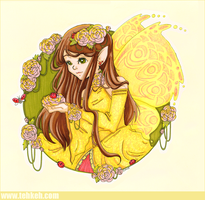 Yellow Fairy + Ladybirds by tea-bug
