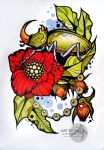 Tattoo sketch, neotraditional.. by AsikaArt