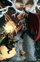 Commission- Thor VS Loki by JavierReyes