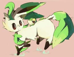 Leafeon butts by FireflyThe5th
