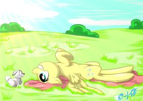 Fluttershy and bunny by s4vin