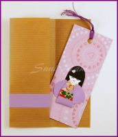 Bookmark Tiny Cute Japanese Doll Pink and Purple by SuniMam