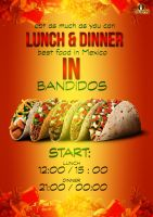 mexican food poster ( bandidos ) by AleksandarN