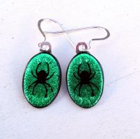 Fused Glass Spider Earrings Light Green by FusedElegance