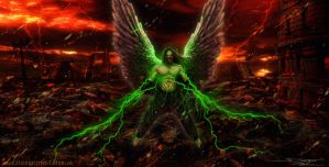 Apocalyptic city with a angel dude with green stuf by AtomiccircuS