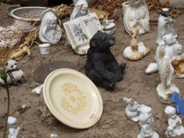 Thoughtful bear with plate by Eris-stock
