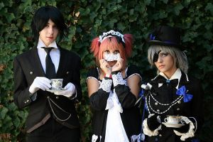 Sebastian,Ciel and Loli the Yaoi fan girl xD by LoveAsia