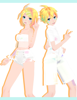 Tda Colorful Kagamine Rin / Len :-: Models DL :-: by Ichigo-Crown