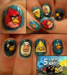 angry birds nails by Ninails
