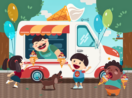 Ice cream truck illustration by Icondesire