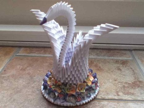 Origami Swan - with flowers by SophieWithLove