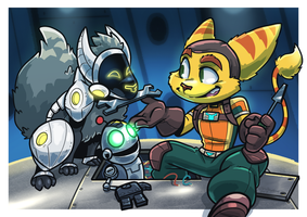COMM: Ratchet, Clank and Unit 09 by SupaCrikeyDave