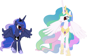 Princess Celestia And Princess Luna With Sharingan by DigiRadiance