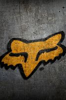 FoxHeadLogoOrng-OnRustyWall-640-x-960-[-iPhone-] by drouell