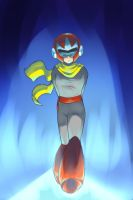 Protoman Walking on BLUEShine by PuddingPlushiePalace