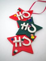 Ho Ho Ho Ornament in Red-Green by Noviel