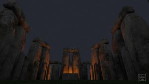 Blender - Stonehenge 06 - night by Ludo38