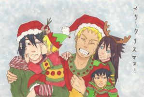SasuNaru (family) ~ Merry Christmas! (color) by artluvr103