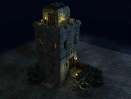Watchtower in Moonlight by eRe4s3r