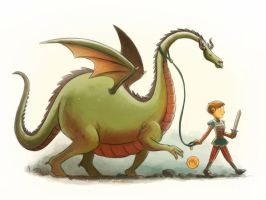 Boy Walking a Dragon by mikemaihack