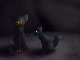 Yellowfang and Cinderpaw by ghost--scarves