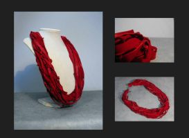 Red leather necklace by julishland