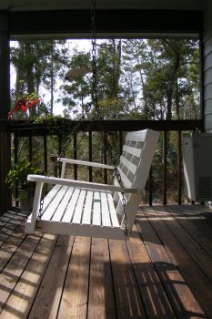 Bench swing, porch, forest by elf-fu-stock