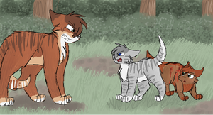 Cedarblaze, Silverpaw and Amberpaw by CascadingSerenity