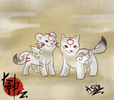 Okamiden Chibi and Tiger by DragonAsis