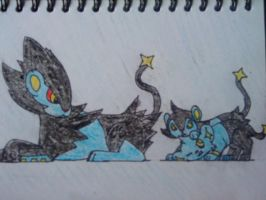 Luxray and Her Family by PrincesaNamine