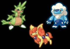 Pokemon x y: starters possible evolutions stage 1 by ecoabismo