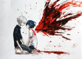 Kaneki and Touka by lulupapercranes