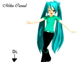 MMD Miku casual DL by xXNaku