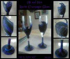 Raven Champagne Glasses by Andagora