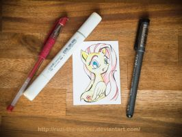 Trading Card 'Fluttershy' - for sale! by Ruzi-the-Spider