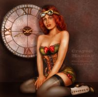 Vintage steampunk pin-up by crayonmaniac