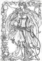 White Ledy noldor. lineart by Righon